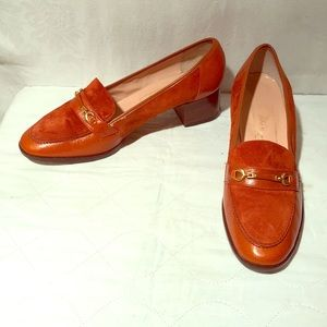 Quality Vintage Orange/Rust Suede & Leather Shoes